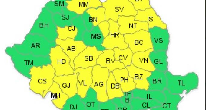 COD GALBEN: Precipitatii mixte si racire accentuata  23-24 octombrie 2014