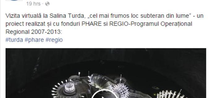 Ministerul Dezvoltării promovează Salina Turda și pe pagina de Facebook