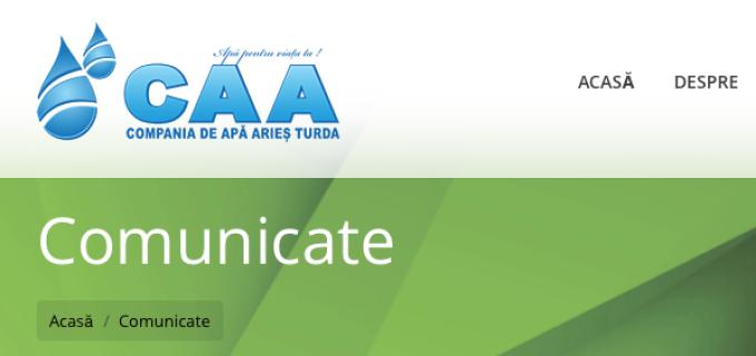 Compania de Apă ARIEŞ anunţă întreruperea furnizării apei potabile, în comuna Viișoara