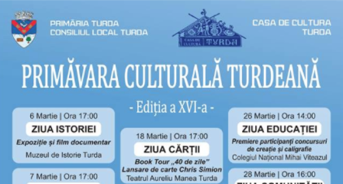 Casa Municipală de Cultură în colaborare cu Primăria Municipiului Turda vă invită să participați la cea de-a XVI – a ediție a Primăverii Culturale Turdene