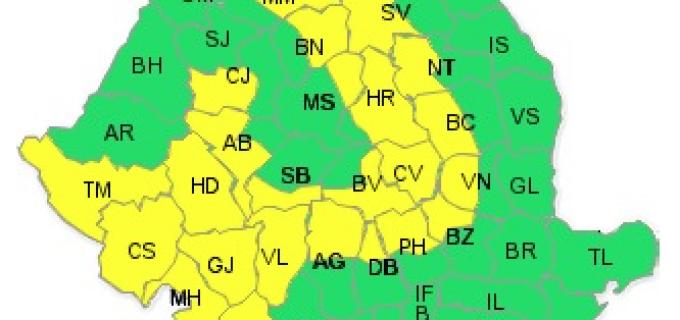 COD GALBEN: Precipitatii importante cantitativ, intensificari  ale vantului, ninsori 5-6 martie 2015