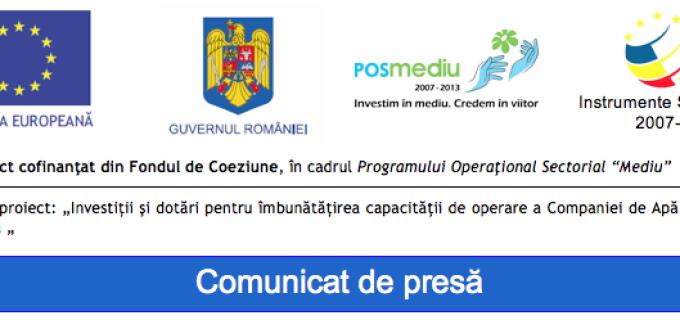 """Proiectul demarat de către Compania de Apă Arieș S.A.  """"Investiţii şi dotări pentru îmbunătăţirea capacităţii de operare a Companiei de Apă Arieş Turda """" continuă"""