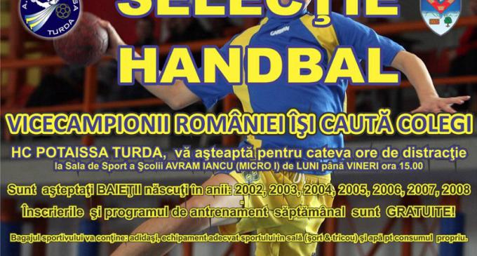 Potaissa Turda organizeaza selectie de handbalisti. Vezi aici mai multe detalii: