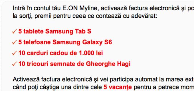 Activează factura electronică E.ON myline şi poţi câştiga premii în fiecare lună