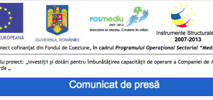 """Informare privind stadiul implementării proiectului din fonduri europene """"Investiţii şi dotări pentru îmbunătăţirea capacităţii de operare a Companiei de Apă Arieş Turda"""""""