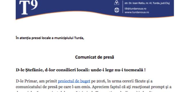 Comunicat T9:  D-le Ștefănie, d-lor consilieri locali: unde-i lege nu-i tocmeală !