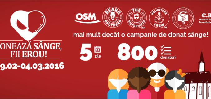 Donează sânge, fii erou! O campanie cu surprize pentru donatori, marca OSM și Beard Brothers!