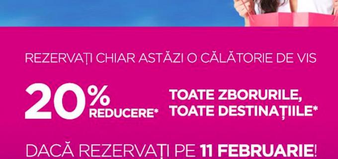 Astăzi, 11 februarie 2016, 20% reducere pentru toate zborurile, toate destinațiile cu #WizzAir