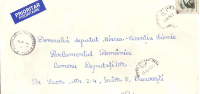 Alteta Sa Regala, Principesa Margareta i-a transmis d-lui Irimie o scrisoare de mulțumire