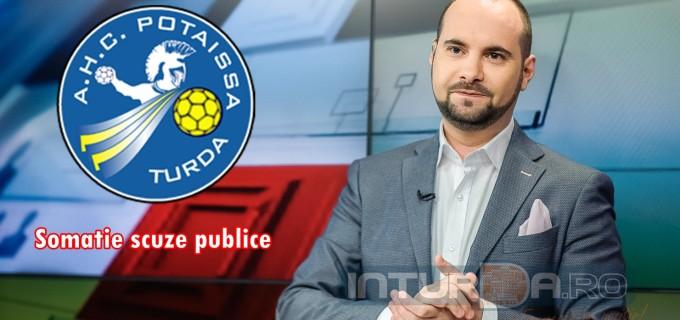 Silviu Mănăstire (B1Tv), somat să-și ceară scuze oficiale față de AHC Potaissa Turda și față de suporterii ei