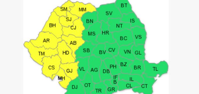 Cod galben de furtuni pentru jumătatea de vest a țării: