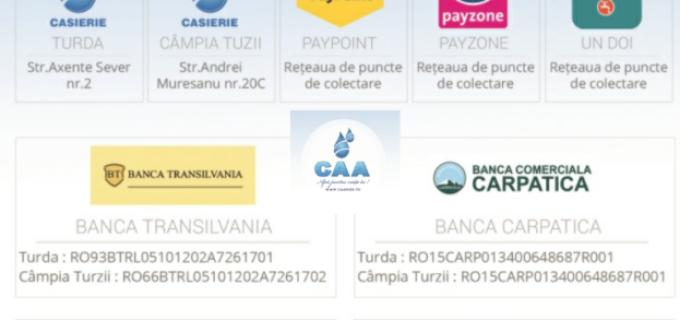 Facturile CAA se pot plăti acum și prin intermediul rețelei un-doi Centru de plăți