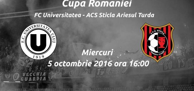 Azi se pun în vânzare biletele pentru meciul din Cupa României dintre U Cluj și Sticla Arieșul Turda