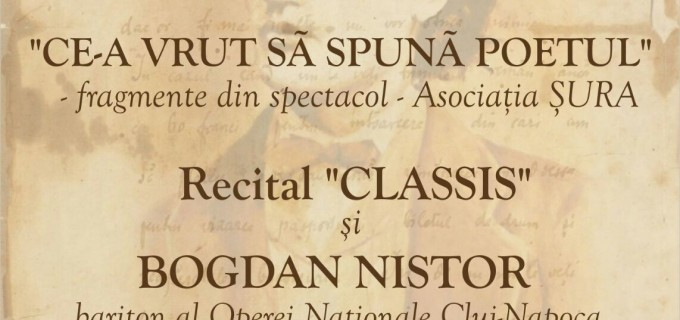 """""""Numai Poetul"""" – spectacol de ziua aniversării poetului Mihai Eminescu la Teatrul Aureliu Manea Turda"""