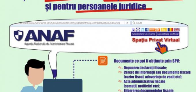 MFP și ANAF extind SPAȚIUL PRIVAT VIRTUAL şi pentru persoanele juridice