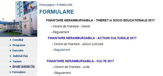 Condițiile de depunere a cererilor de finanțare nerambursabilă la Consiliul Județean Cluj