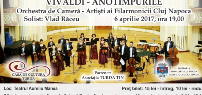 """Concert extraordinar în cadrul Primăverii Culturale: """"Anotimpurile"""" de Antonio Vivaldi vor răsuna pe scena teatrului din Turda"""