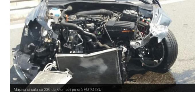 VIDEO: Accident pe autostrada Turda-Borș. Un tânăr a pierdut controlul volanului la 236km/h