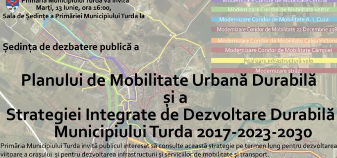 Primăria Municipiului Turda invită publicul interesat la ședința deschisă de consultare publică privind elaborarea PMUD și a strategiei de Dezvoltare Durabilă