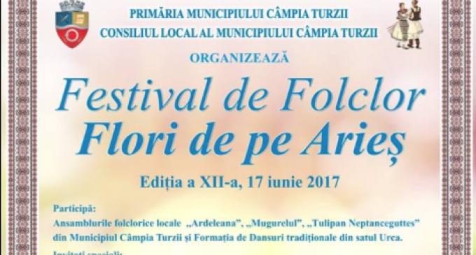 """Sambătă, 17 iunie 2017, la Câmpia Turzii se va desfășura cea de-a XII – a ediție a Festivalului de Folclor """"Flori de pe Arieș"""""""