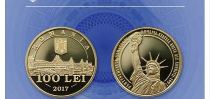 Monedă din aur dedicată împlinirii a 20 de ani de parteneriat strategic între România şi Statele Unite ale Americii