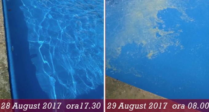"""Fântânile din centrul Turzii au fost vandalizate de 4 ori în doar 2 luni de zile. Primaria Turda: """"A fost aruncată în apă făină de mălai"""""""