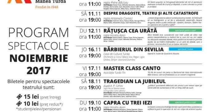 """Teatrul """"Aureliu Manea"""" Turda – Program spectacole luna Noiembrie 2017"""