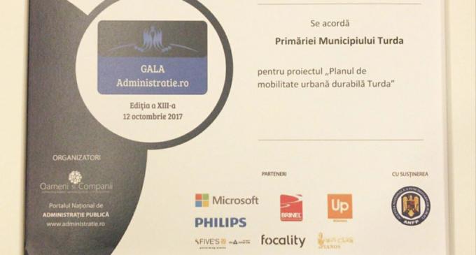 Primăria Municipiului Turda a primit premiul de excelență în cadrul Galei Administrație.ro