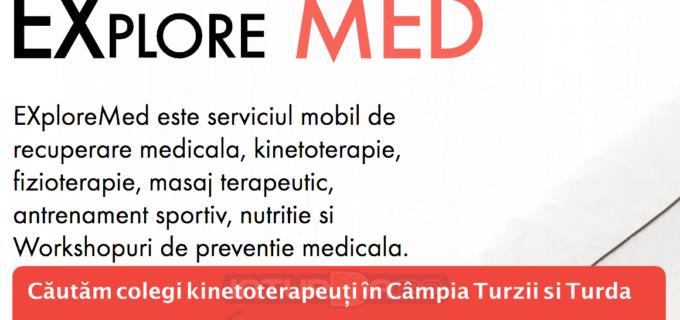 EXploreMed caută colaboratori kinetoterapeuți pentru Câmpia Turzii și Turda