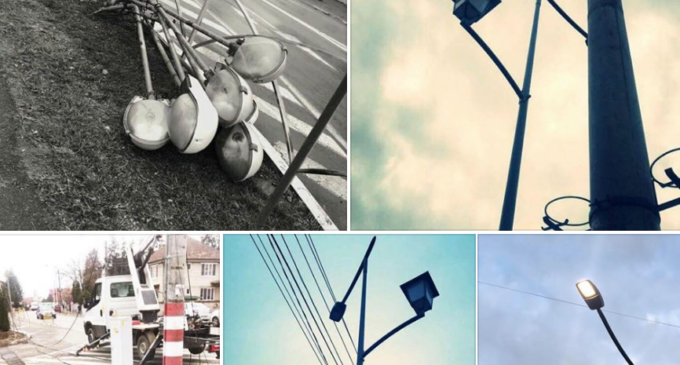 Adio cabluri în centrul Câmpiei Turzii! Astăzi s-a pornit noua rețea de iluminat public
