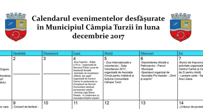 Calendarul evenimentelor lunii DECEMBRIE 2017 la CÂMPIA TURZII