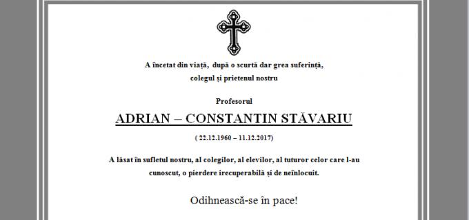 A încetat din viață profesorul Adrian Stăvariu