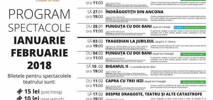 """Teatrul """"Aureliu Manea"""" Turda – Program spectacole luna ianuarie și februarie 2018"""