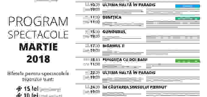 Teatrul Aureliu Manea Turda – Program spectacole luna MARTIE 2018