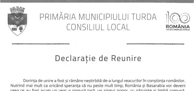 Adoptarea Declaratiei de Reunire cu Republica Moldova, pe ordinea de zi a Consiliului Local Turda