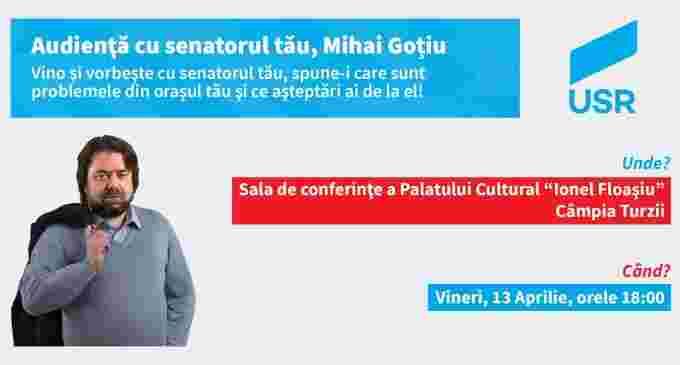 Senatorul USR Cluj, Mihai Goțiu, va fi prezent în Câmpia Turzii pentru a-i asculta pe cetățeni
