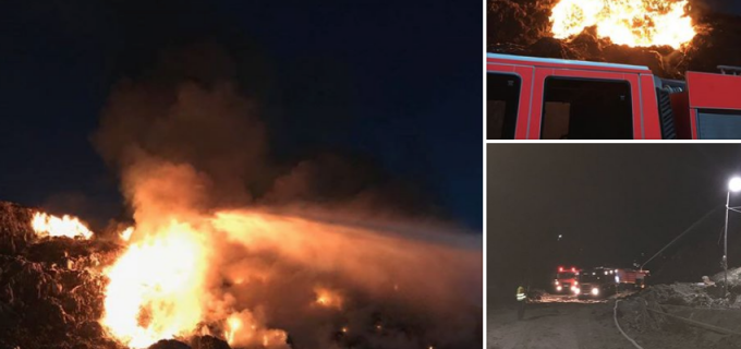 Incendiu la rampa de deșeuri. ISU Cluj: Flăcările au fost stinse după patru ore