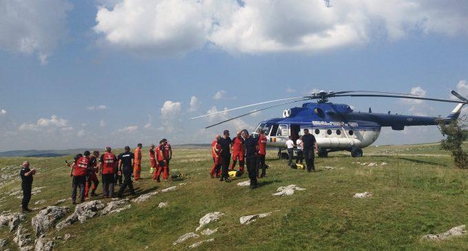 Exerciții de salvare aero în zona montană a județului