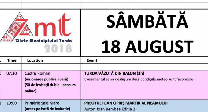 Vezi AICI programul COMPLET al Zilelor Municipiului Turda 2018