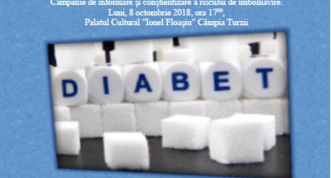 """Astăzi la Palatul Cultural din Câmpia Turzii – Campania """"Diabet… control. Sfârșitul nu-i aici!"""""""