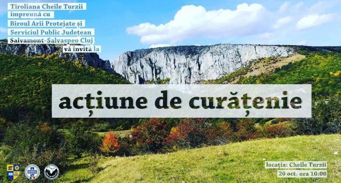Tiroliana Cheile Turzii – Actiune de ecologizare a traseului deschis turiștilor din Cheile Turzii