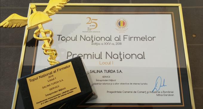 Salina Turda SA – locul 1 în Topul National al firmelor 2018