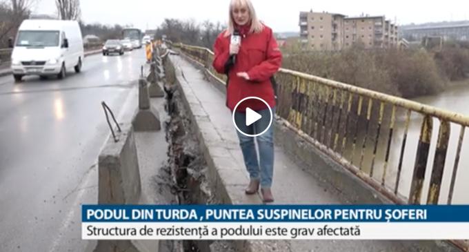 Podul de la ieșirea din Turda este incadrat în clasa 5 de risc! CNAIR va începe lucrările abia anul viitor