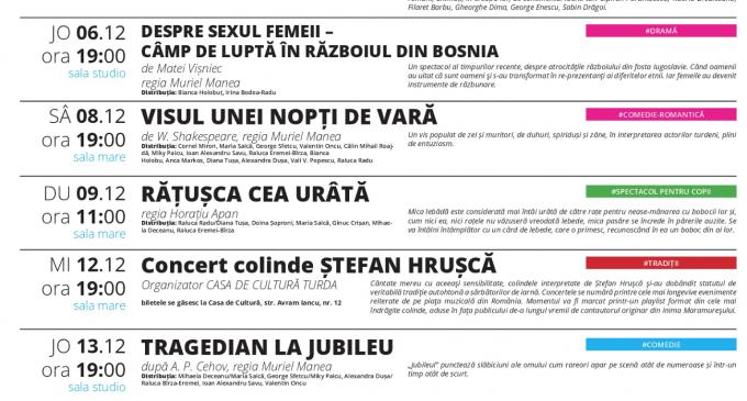 Teatrul Aureliu Manea – Program spectacole luna Decembrie