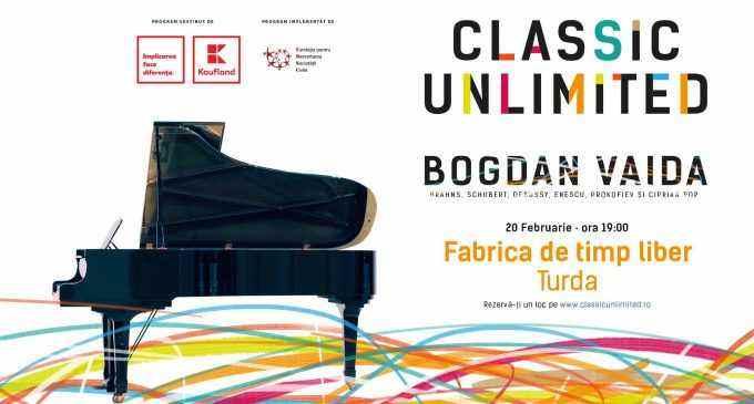 Concert Classic Unlimited. Pianistul Bogdan Vaida vine la Fabrica de Timp Liber Turda