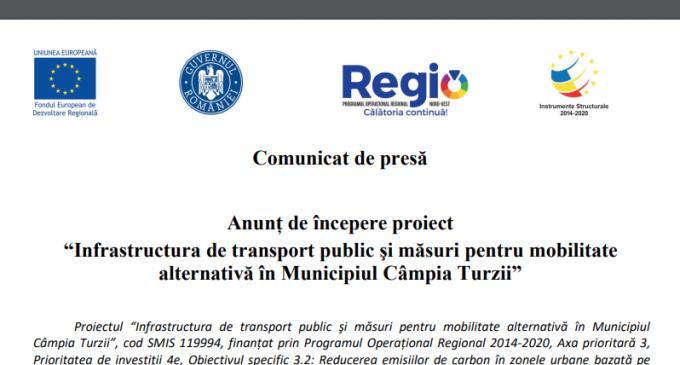 """Anunț de începere proiect """"Infrastructura de transport public şi măsuri pentru mobilitate alternativă în Municipiul Câmpia Turzii"""""""