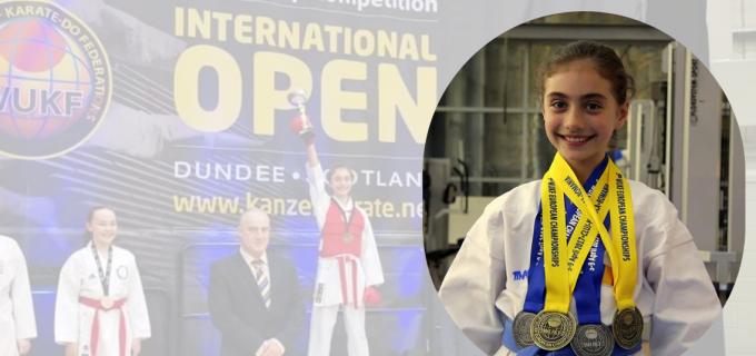 """4 medalii de AUR pentru Maria Morar, în Scotia! Maria a fost desemnată """"CEL MAI BUN SPORTIV AL COMPETITIEI"""" – KANZEN INTERNATIONAL OPEN"""