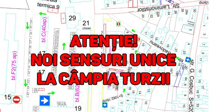 ATENȚIE, șoferi! Noi SENSURI UNICE în municipiul Câmpia Turzii