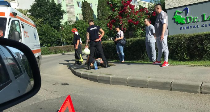 FOTO: Motociclist rănit în urma unui accident pe strada Calea Victoriei din Turda