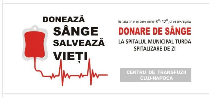 Spitalul Municipal Turda organizează o nouă campanie de donare de sânge